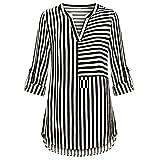 UONQD Women Chiffon Blouse Split Cuffed Sleeve Striped Tops