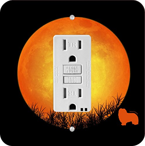 FI Single Shetland Sheepdog Dog Silhouette By Moon Design Light Switch Plate ()