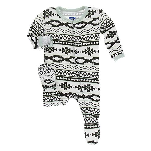 Kickee Pants Little Boys Print Footie with Snaps - Natural Mayan Pattern, - Pattern Snap