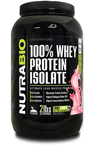 NutraBio 100% Whey Protein Isolate - Wild Strawber…