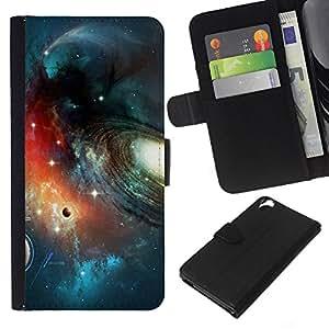 KLONGSHOP // Tirón de la caja Cartera de cuero con ranuras para tarjetas - Planet Space Galaxy Art - HTC Desire 820 //