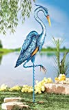 Blue Heron Crane Metal Garden Decor Yard Stake, Blue, Iron
