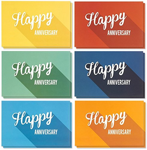 36 Pack Anniversary Card Set - Happy Anniversary Cards - Assorted Blank Greeting Cards - Colorful Greeting Cards Bulk Set - Retro Inspired Designs, Envelopes Included, 4 x 6 inches