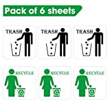 FAM-StickTiles Signs Recycle & Trash Garbage Sticker Set for Offices, Businesses, Events, Premium Self-Adhesive Vinyl, Square Shape-4 Inch (6 Sheets)