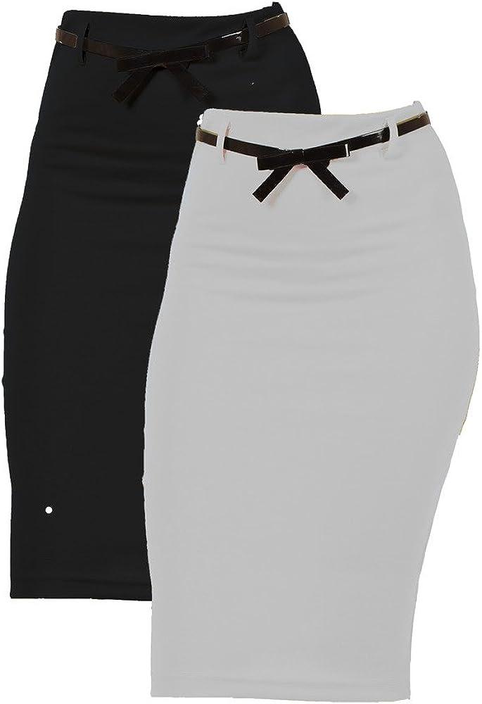 2 Pack Mujer Cintura Alta por debajo de la rodilla Falda: Amazon ...