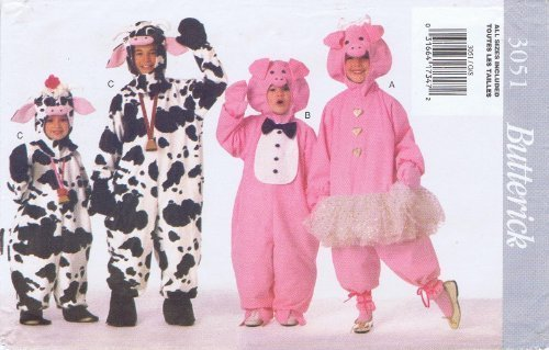 (Butterick See & Sew 3051 Butterick 3051 Pig/Cow Costume Pattern Boys/Girls Sizes)