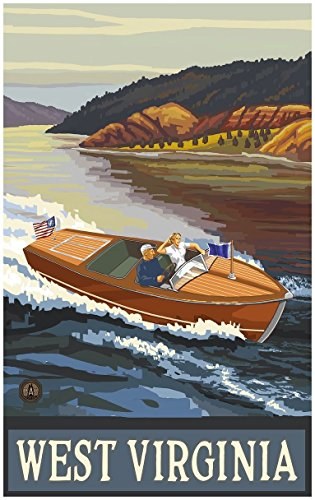 West Virginia Woodie Boat Lake Travel Art Print Poster by Paul A. Lanquist (24