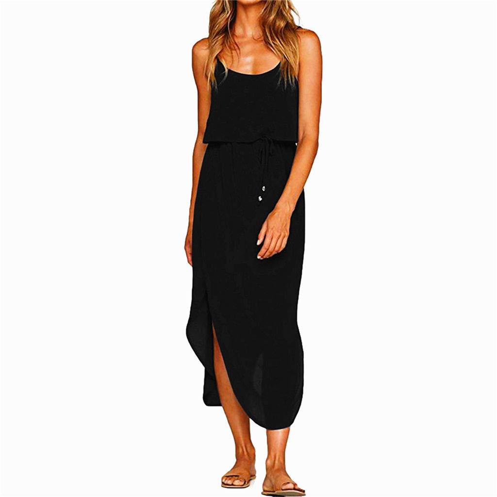 Dresses Women's Summer Casual Adjustable Strappy Solid Dress Sleeveless Side Split Beach Midi Sun Dress (Black, L)