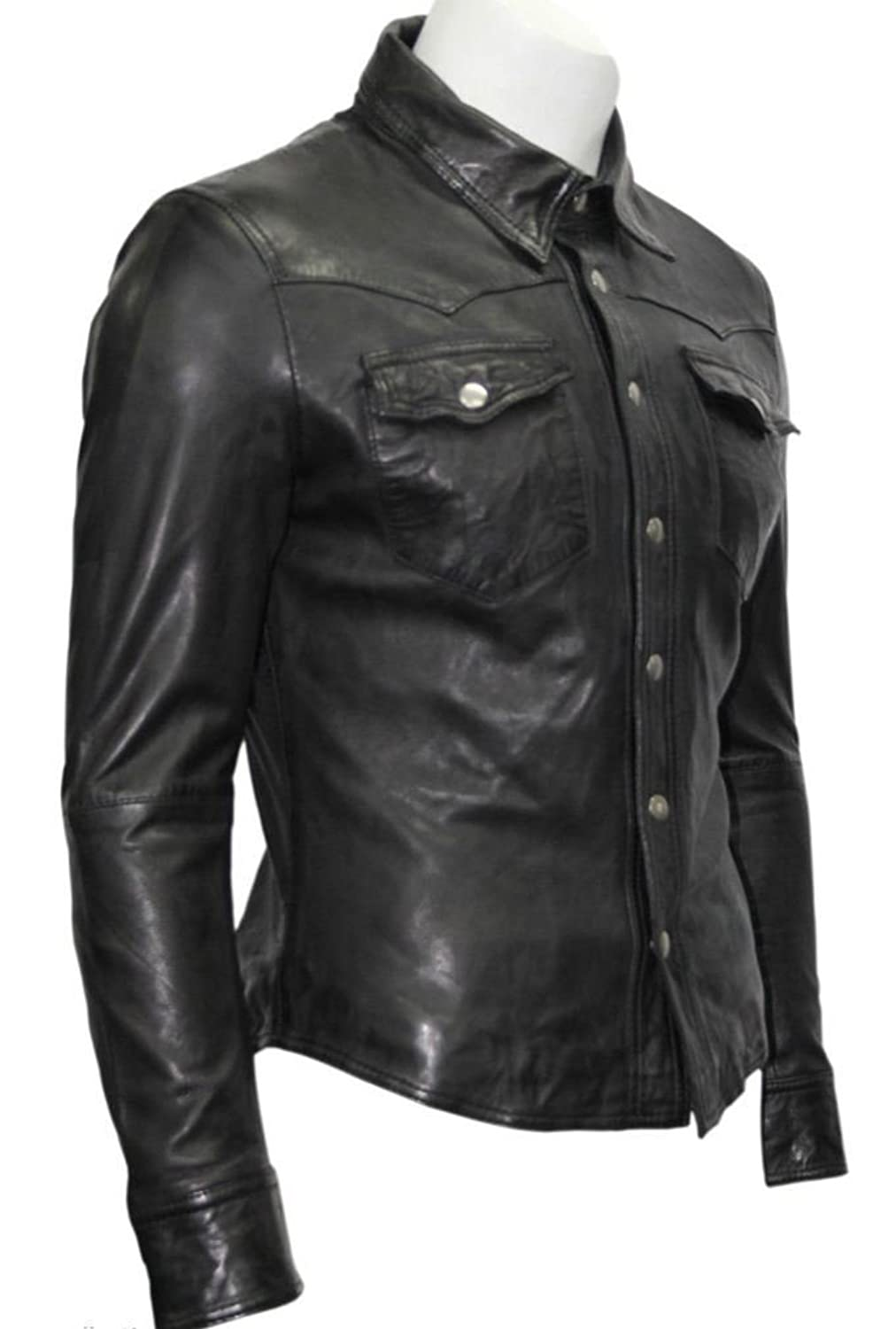 Men's Gents Black Adjustable Collar Casual Retro Soft Real Leather Shirt Jacket