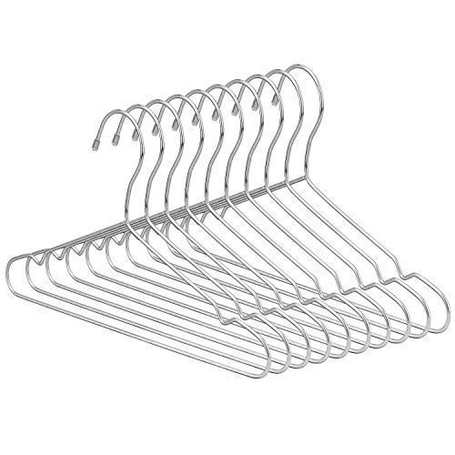 Jetdio 12.5'' Children Stainless Steel Clothes Shirts Hanger with Notches, Children Hanger, Cute Small Strong Coats Hanger for Kids, 30Pack