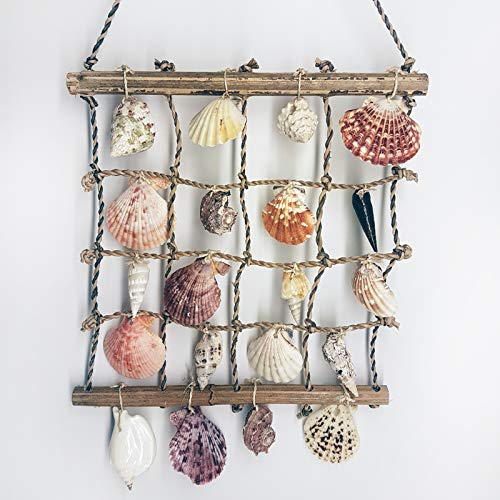 Natural Handmade Collectible Nautical Sea Shell Pearl Bamboo Home Garden Decorative Wall Hanging Macrame Ornament Craft Gift