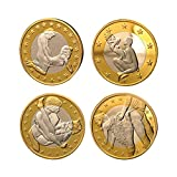 Godlucky New Style Euro Coins Lovers 4pieces/lot Euro Coins Different Design Commemorative Souvenir Gold Silver Plated Coins Collecting