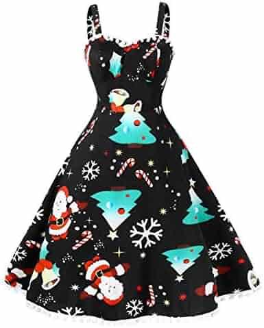 888f4b562c9a TIFENNY Merry Christmas Fashion Dress Women's O-Neck Sleeveless Lace Insert  Santa Claus Print Party