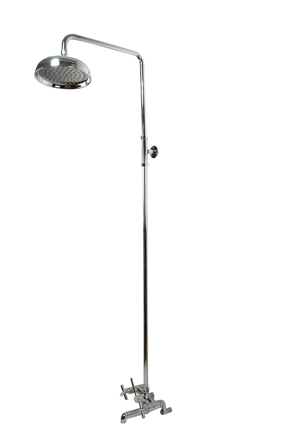 Clawfoot Tub Shower Faucet or Add-on Shower & Bathcock, Brass in Chrome Finish - By Plumb USA 34065