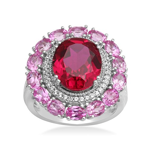 Jewelili Sterling Silver Created Ruby Oval Framed with Created White Sapphire and Pink Sapphire Halo Ring