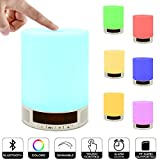 Night Light Table Lamp Portable Bluetooth Speaker, ZHOPPY Touch Control Bedside Lamp Alarm Clock Color LED Outdoor Speaker Light Birthday Gifts
