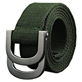 Maikun Canvas Web Military Style Belt with Metal Double D-ring Buckle Army Green