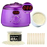Wax Warmer, Hair Removal Waxing Kit Electric Wax Heater Professional Waxing with Temperature Display Screen Rapid Melt Wax with 7ounce Pearl Hard Wax Beans and 10 Sticks at Home Waxing for Women Men