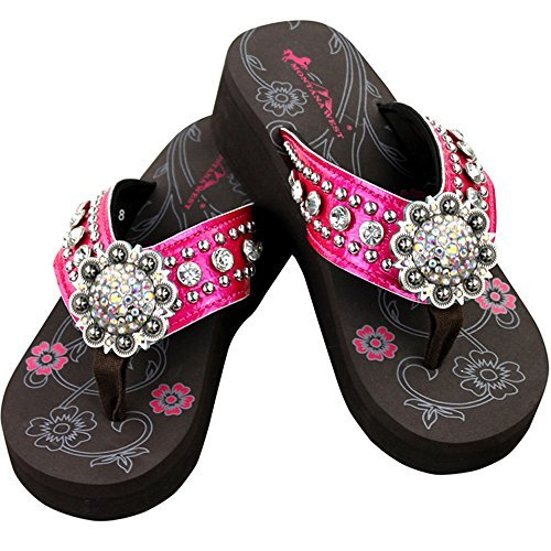 Montana West Bling Bling Collection Flip Flops, Silver Flower Shaped Concho, Floral. (Concho Collection)