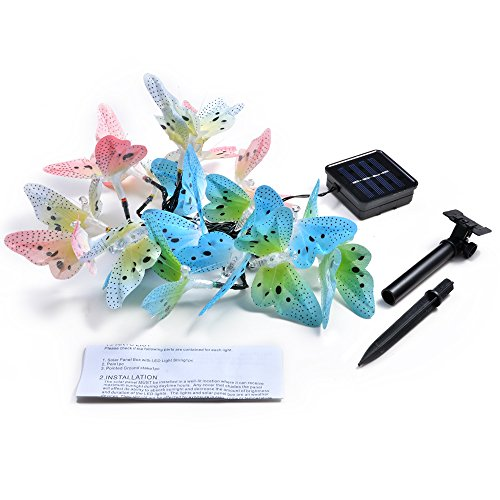 IMAGE Butterfly Solar String Lights Fiber Optic Shaped 12 LED Multi-Color Beautiful Animal Design Light for Garden, Lawn, Patio, Wedding, Party, Bedroom, Outdoor Decoration