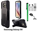 Samsung Galaxy S6 (2015 Samsung New Flagship Android Phone; US Carrier: Verizon Wireless, AT&T, Sprint, and T-Mobile) Phone Case - Premium Heavy Duty Dual Shield Hybrid Protector Case with KickStand + Travel (Wall) Charger + 3.5MM Stereo Earphones + 1 of
