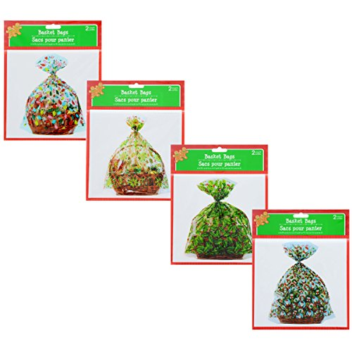 Festive Holiday Basket Bags - 2ct Packs - Assorted Designs