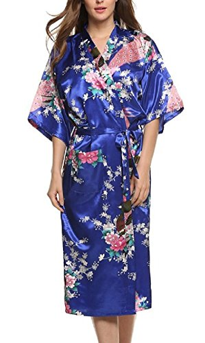 (SexyTown Women's Long Floral Peacock Kimono Robe Satin Nightwear with Pockets X-Large Smalt)
