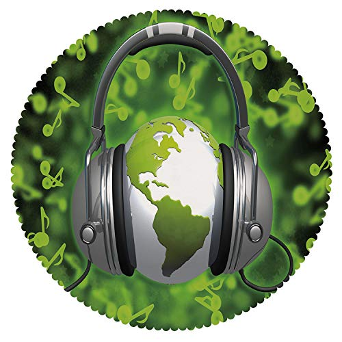 iPrint Round Tablecloth [ World,World of Music Themed Composition DJ Headphones Musical Notes and Earth Globe Decorative,Lime Green Grey ] Home Accessories Home ()