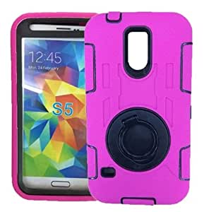 Fashion 2 in 1 Hybrid Premiun Silicon Case and Plastics Hard Shell with Kickstand for Samsung Galaxy S5 V i9600 (Rose)
