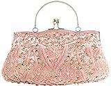 Womens Clutch 100% Handmade Sequins Wedding Bag-Pulama Bridal Handbag with Long Chain ,Champagne