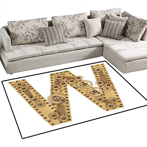 Letter W Girls Rooms Kids Rooms Nursery Decor Mats Steampunk Style Automated ABC Symbol Uppercase W Gears Structure Worn Look Print Bath Mats for Floors 3'x5' Sand ()
