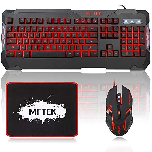 MFTEK Gaming Keyboard and Gaming Mouse Combo, USB Wired 104 Keys Keyboard, 3 Colors Red Blue Purple Backlit Gaming Keyboard, 6 Button Mouse + Mouse Pad for Computer PC Gamer Office
