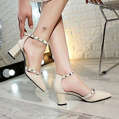 Evening Comfort Buckle Light amp; 4in FYios Spring Summer 2 Dress Women'sHeels EU36 Comfort Party Heel Career PU UK4 amp; US6 Chunky Office CN36 Grey 2in Beige Rivet 3 6C67qUPw