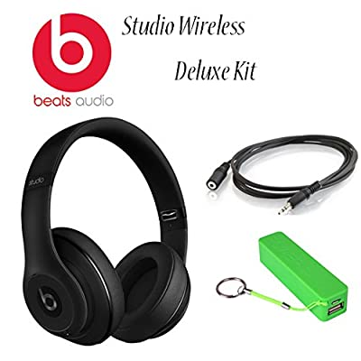 Beats By Dr. Dre Studio Wireless Headphones (Matte Black) Kit Ncludes 3.5 Mm Male/female Stereo Audio Extension Cable Black, and Universal Usb Battery Charger