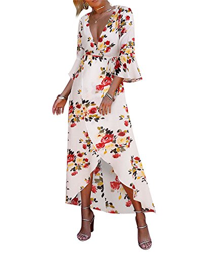 Split Boho Dress Bell Wrap Sleeve Floral Women's White Flowy Neck Print Party Plunge Maxi Red V BeneGreat xC4nWq5