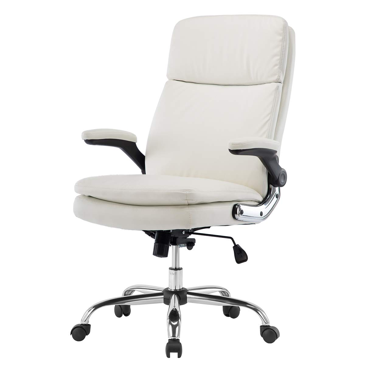 KERMS High Back PU Leather Executive Office Chair, Adjustable Recline Locking Flip-up Arms Computer Desk Chair, Thick Padding and Ergonomic Design for Lumbar Support White