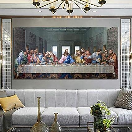 KWzEQ Cartel de la última Cena del Famoso Pintor y Mural sobre Lienzo,Pintura sin Marco,30x60cm