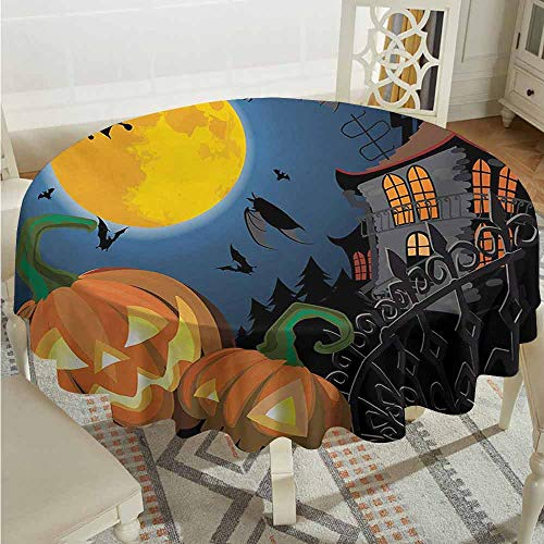 XXANS Washable Round Tablecloth,Halloween,Gothic Halloween Haunted House Party Theme Design Trick or Treat for Kids Print,for Events Party Restaurant Dining Table Cover,50 INCH,Multicolor]()