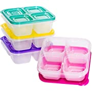 EasyLunchboxes ELB5-snack Snack Box Food Containers, 4-Compartment, Set of 4, Bright