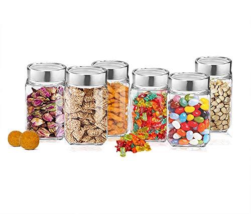 Treo By Milton Cube Storage Glass Jar, Set of 6, 310 ml, Transparent