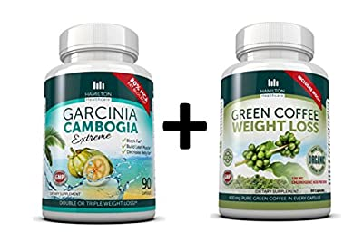 COMBO PACK: Garcinia Cambogia 80% HCA + Organic Green Coffee Bean Supplement 2 PACK for MAXIMUM and FAST results by Hamilton Healthcare
