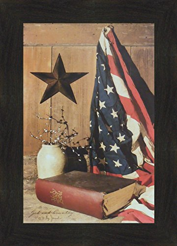 Primitive Country Framed Picture (God and Country by Billy Jacobs 16x22 Americana American Flag Bible Star Crock Primitive Folk Art Framed Print Picture)