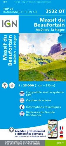 IGN Massif du Beaufortain/Moûtiers/La Plagne - Carte topographique
