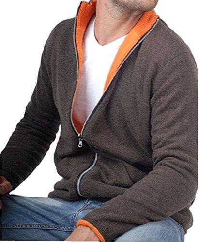 Balldiri 100% Cashmere Kaschmir Herren Wende Jacke 2 farbig braun meliert-orange XS