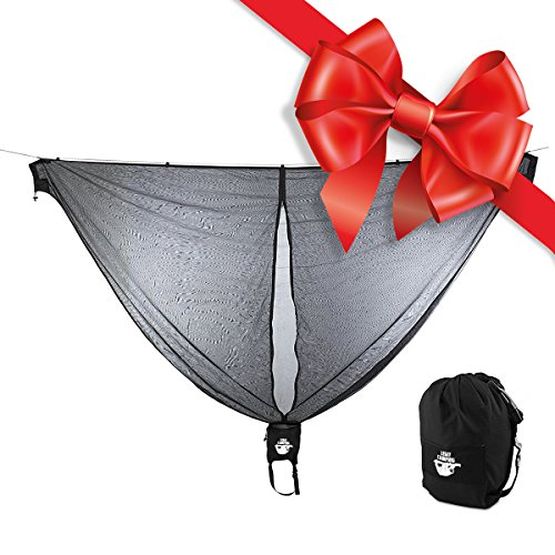 Hammock Bug Net by Legit Camping - 11 Feet Long Mosquito Net - Keep Out Noseeums -Compatible With All Hammock Brands - Includes Ridge Line - (Black) (Mosquito For Net Porch)