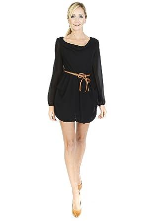 23ab4cc1d6 RMB Short Long sleeve little black dress Cowl
