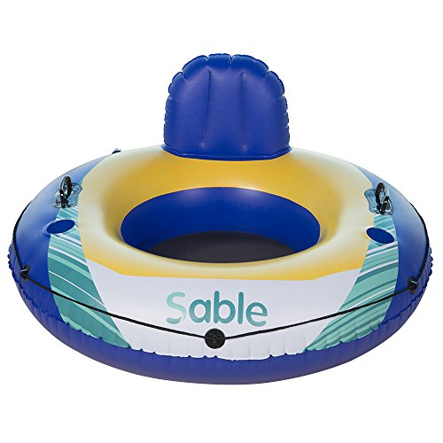 Sable Inflatable Water Floating Tube Lounger for Swimming Pool, Lake, and River, 47 Inches Diameter - Chair Sable