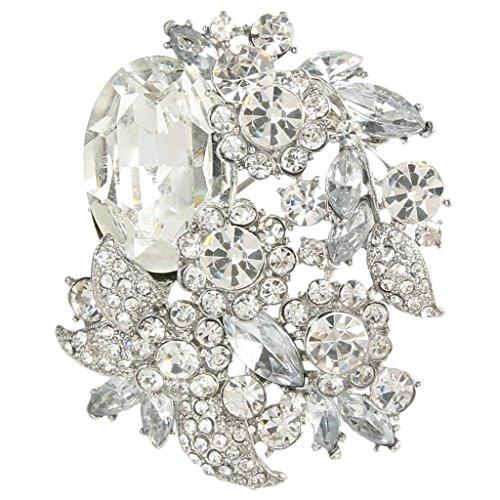 (EVER FAITH Rhinestone Crystal Party Flower Leaf Vine Brooch Clear Silver-Tone)