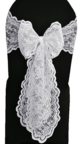 Wedding Linens Inc. 5 PCS Wholesale 9 in x108 in Lace Chair Sashes, Lace Wedding Chair Bows, Lace Chair Bow Ties, Lace Chair Tie Backs, for Wedding Décor Events Banquet Party Supplies - White