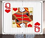Ambesonne Queen Curtains, Queen of Hearts Playing Card Casino Design Gambling Game Poker Blackjack, Living Room Bedroom Window Drapes 2 Panel Set, 108 W X 96 L inches, Vermilion Yellow White